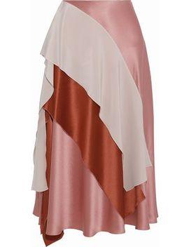 Mahira Draped Color Block Silk Satin Midi Skirt by Roksanda