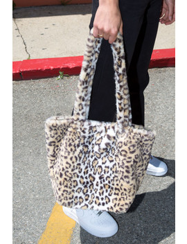 Faux Fur Cheetah Print Bag by Brandy Melville