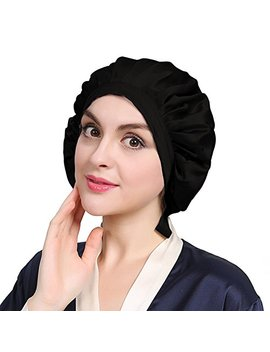 Lily Silk Black Silk Bonnet Cap For Women Traceless Half Black Elastic 100 Real Mulberry Silk 19 Momme Flat Cap Sleeping For Hair by Lily Silk