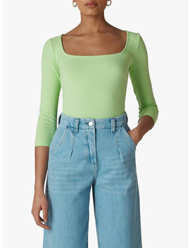 Whistles Square Neck Ribbed Long Sleeve Top, Lime by Whistles
