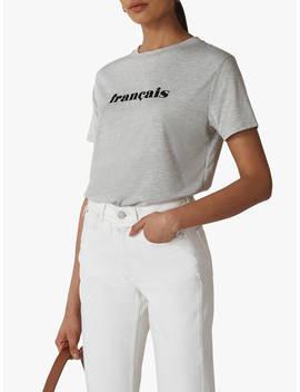 Whistles Francais Logo Cotton T Shirt, Grey Marl by Whistles