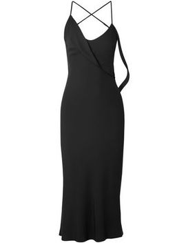 Draped Stretch Crepe Midi Slip Dress by Michelle Mason