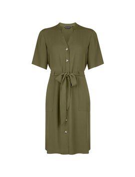 Khaki Notch Neck Shirt Dress by Dorothy Perkins