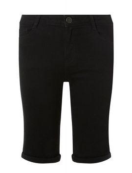 Black Denim Shaping Knee Shorts by Dorothy Perkins