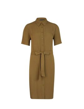 Khaki Short Sleeve Shirt Dress by Dorothy Perkins