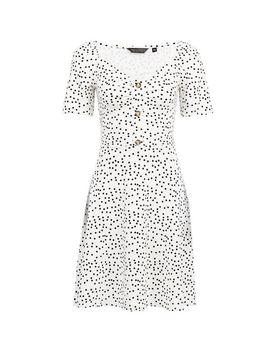White Spot Print Button Detail Skater Dress by Dorothy Perkins