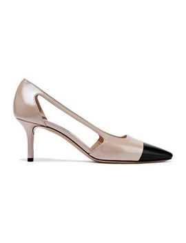 Cutout Two Tone Glossed Leather Pumps by Casadei