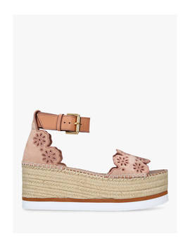 See By Chloé Broderie Anglaise Wedge Sandals, Light Pink Leather by See By Chloé