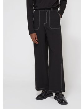Double Faced Wool Side Slit Pant by Deveaux