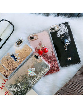 online store d569d 1fb9e Shoptagr | For I Phone X 8 7 6 Soft Tpu Cute Liquid Glitter ...