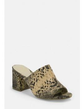 Beige Snake Faux Suede Peep Toe Mules by Missguided