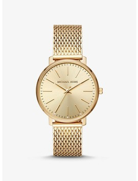 Pyper Gold Tone Mesh Watch by Michael Kors