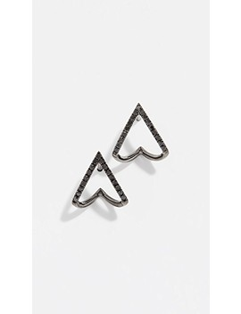 14k Black Diamond Chevron Huggie Stud Earrings by Ef Collection