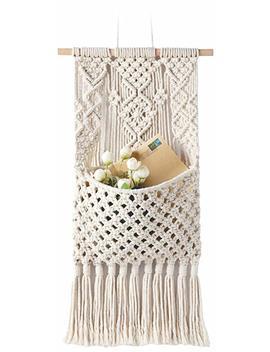 "mkono-macrame-magazine-storageorganizer-mailholderwallmount-cotton-wovening-hanging-pocket,boho-home-decor,best,-ivory,13""-w-×-29""-l by mkono"