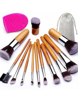 Beakey Premium Makeup Brush Set, Durable Bamboo Handle Brushes Synthetic Kabuki Foundation Blending Eyeshadow Concealer Powder Brush Kit (12 Pcs Bamboo... by Beakey