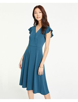 Petite Flutter Sleeve Wrap Dress In Matte Jersey by Ann Taylor