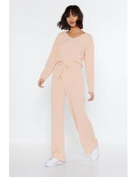 Rib Hooded Top &Amp; Wide Leg Lounge Set by Nasty Gal