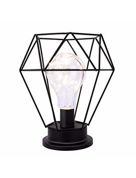 Lewondr Table Lamp Metal Shade Edison Bulb Desk Light Diamond Metal Cage Style Battery Powered Ambient Lights For Bedroom Wedding Christmas Home Decoration   Warm White And Black by Lewondr