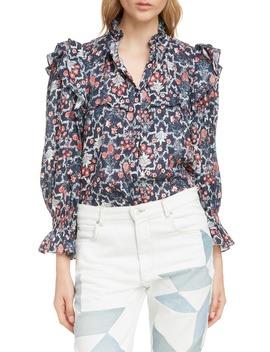 Tedy Floral Print Linen Blouse by Isabel Marant Étoile