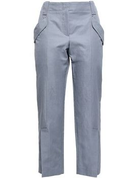 Cotton Blend Gabardine Tapered Pants by Brunello Cucinelli