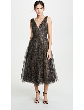 Glitter Tulle Tea Length Gown by Marchesa Notte