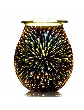 Qusup 3 D Glass Electric Wax Melt Warmer Candle Warmer Wax Burner Melter Fragrance Warmer For Home Office Bedroom Living Room Gifts & Decor (3 D Fireworks) by Qusup