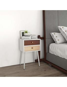 Lifewit White Nightstand With 2 Fabric Drawers, Bedside End Table Bedroom Side Table, Modern Accent Table, Sturdy And Easy Assembly, 15.7 × 11.7 × 24.4 In by Lifewit