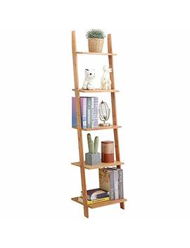 Exilot Natural Bamboo Ladder Shelf 5 Tier Wall Leaning Bookshelf Ladder Bookcase Storage Display Shelves For Living Room, Kitchen, Office, Multi Functional Plant Flower Stand Shelf. by Exilot