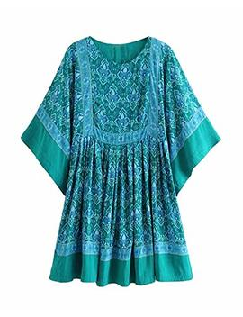 R.Vivimos Women's Summer Cotton Half Sleeve Casual Loose Bohemian Floral Tunic Dresses by R.Vivimos