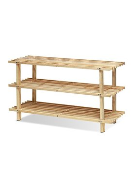 Furinno Fncj 33003 Pine Solid Wood 3 Tier Shoe Rack, Natural by Furinno