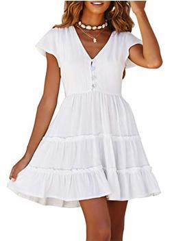 Merokeety Women's Summer V Neck Button Down Ruffle Sleeves Pleated Swing Mini Dress by Merokeety