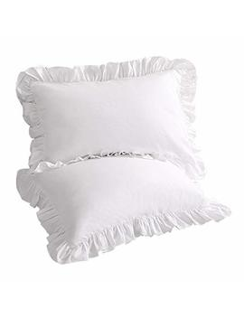 sexytown-pillow-cases-king-size-set-of-2-cotton-ruffled-pillow-shams-cover-white by sexytown