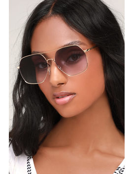 Aubreigh Gold And Black Oversized Aviator Sunglasses by Lulus