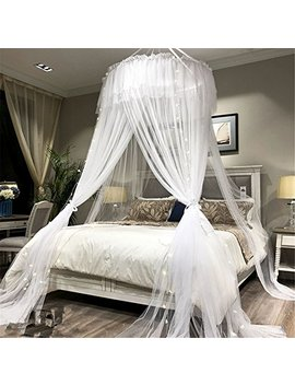 Lotus Karen Bed Canopy   Elegant Lace Round Hoop Polyester Sheer Mesh Bed Curtains   Princess Dome Bedding Net For Twin Full Queen King Size Bed by Lotus Karen