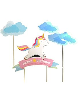 Blue Handmade Unicorn Birthday Cake Toppers, Cake Decorations For Kids Birthday Party Supplies by Alissar