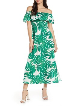 Palm Leaf Print Off The Shoulder Maxi Dress by Bardot
