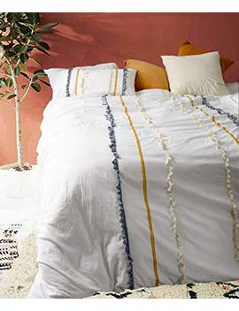 Flber Boho Duvet Cover Queen Cotton Boho Bedding Full White Comforter,86in X 90in by Flber
