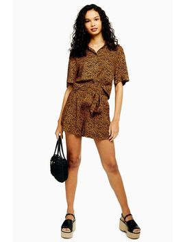 Cairo Brown Leopard Print Tie Shorts by Topshop