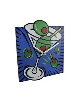 Brightly Colored Pop Art Style Martini Wall Clock by Generic