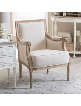 Chavanon Wood & Cotton Traditional French Accent Chair by Baxton Studio