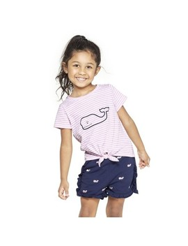 Toddler Girls' Whale Short Sleeve Striped Tie Front Crewneck T Shirt   Pink/White   Vineyard Vines® For Target by Shirt