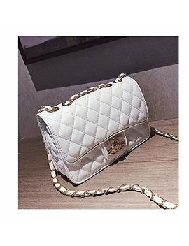 Crossbody Purse Lingge Laboy Flap Leather Shoulder Bag Handbag Holder With Chain  White Color by Buy Good Bag