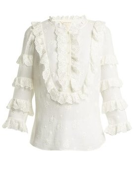 Dree Broderie Anglaise Cotton And Silk Blend Top by Rebecca Taylor