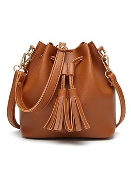 Orfila Mini Bucket Bag Leather Shoulder Crossbody Bag Tassel Drawstring Purse For Women by Orfila