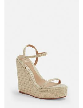 Beige Two Strap Jute Wedges by Missguided