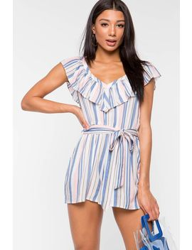 Jasmine Flounce Striped Romper by A'gaci
