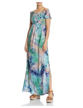 Smocked Tie Dye Maxi Dress   100 Percents Exclusive by Aqua