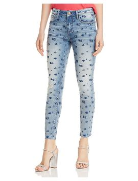 Leopard Pattern Distressed Skinny Jeans In Indigo   100 Percents Exclusive by Aqua