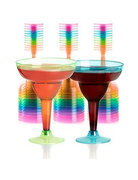 Set Of 36 Plastic Margarita Glasses   12 Oz Disposable Neon Cocktail Cups by Upper Midland Products