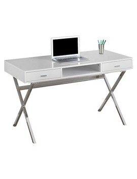 Chrome Metal Computer Desk   Glossy White   Every Room by Glossy White